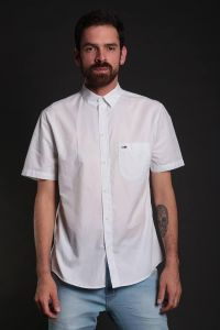 camisa tommy jeans s/s solid poplin