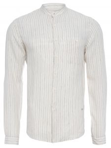 richards camisa masculina linho listra - off white