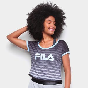camiseta fila double degrade feminina - preto e branco